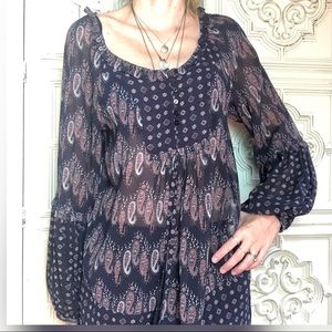 Zara printed long blouse tunic